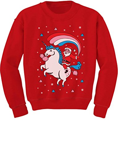 Santa Riding Unicorn Rainbow Ugly Christmas Toddler//Kids Sweatshirt 5//6 Red Tstars